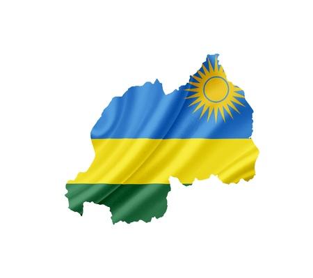 rwanda: Map of Rwanda with waving flag isolated on white Stock Photo