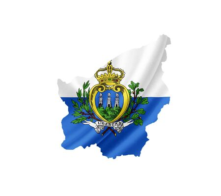 Map of San Marino with waving flag isolated on white photo