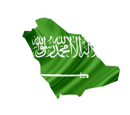 serbia flag: Map of Saudi Arabia with waving flag isolated on white