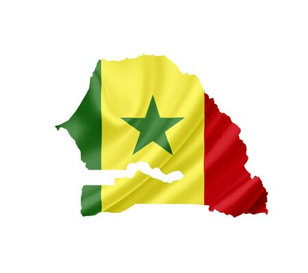 Map of Senegal with waving flag isolated on white Stock Photo - 14043988