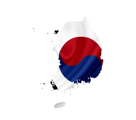 Map of South Korea with waving flag isolated on white photo