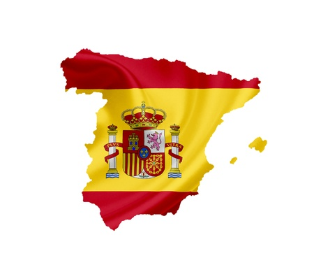 spain map: Map of Spain with waving flag isolated on white Stock Photo