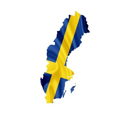 Map of Sweden with waving flag isolated on white photo