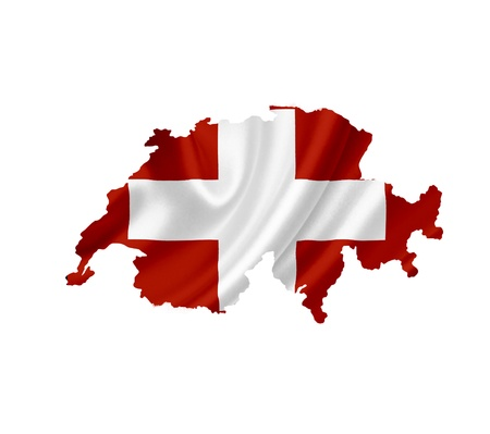 swiss flag: Map of Swiss with waving flag isolated on white