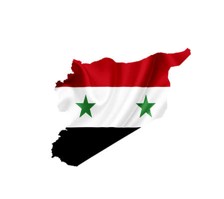 Map of Syria with waving flag isolated on white Stock Photo - 14043947