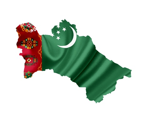 turkmenistan: Map of Turkmenistan with waving flag isolated on white Stock Photo
