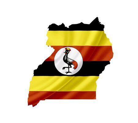 Kaart van Oeganda met een wapperende vlag op wit wordt geïsoleerd Stockfoto
