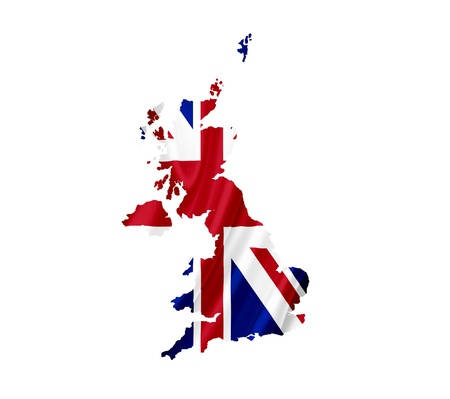 Map of United Kingdom with waving flag isolated on white photo