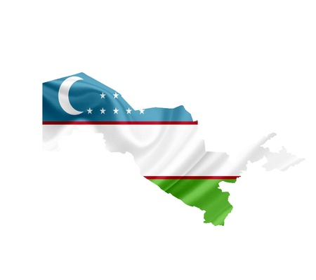 uzbekistan: Map of Uzbekistan with waving flag isolated on white