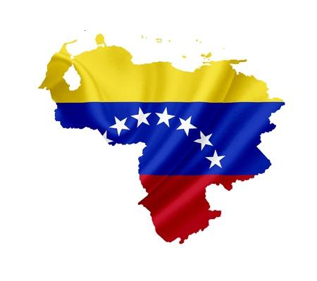 bandera de venezuela: Mapa de Venezuela con la bandera ondeando aislados en blanco Foto de archivo