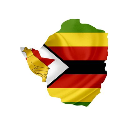Map of Zimbabwe with waving flag isolated on white photo