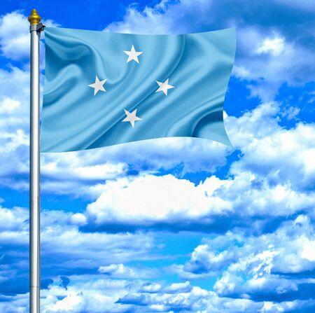 micronesia: Micronesia flag against blue sky