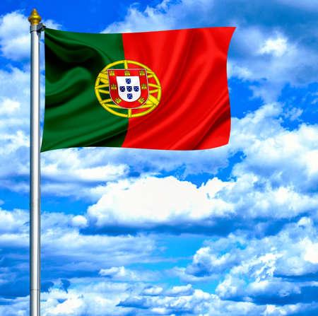 Portugal waving flag against blue sky Stock Photo - 14044594