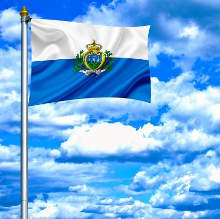 san marino: San Marino waving flag against blue sky