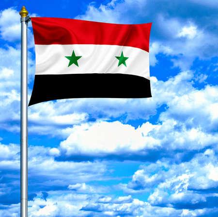 Syria waving flag against blue sky photo