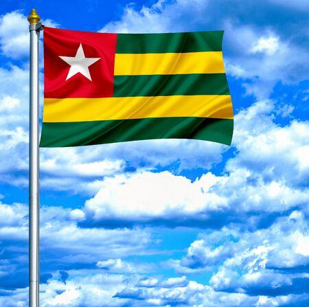 togo: Togo waving flag against blue sky