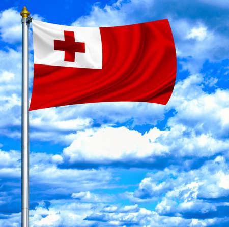 tonga: Tonga waving flag against blue sky