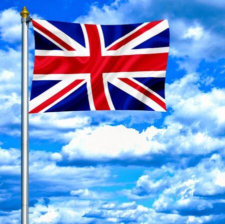 United Kingdom waving flag against blue sky photo