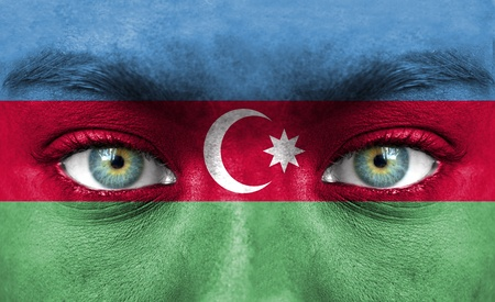 azerbaijan: Human face painted with flag of Azerbaijan