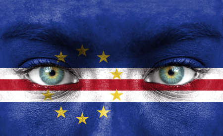 cape verde flag: Human face painted with flag of Cape Verde