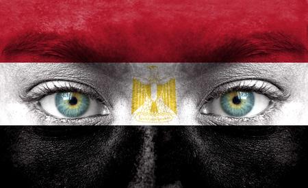 flag of egypt: Rostro humano pintado con la bandera de Egipto