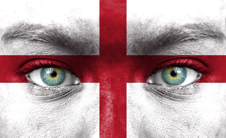Human face painted with flag of England photo