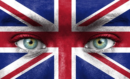 british man: Human face painted with flag of United Kingdom Stock Photo