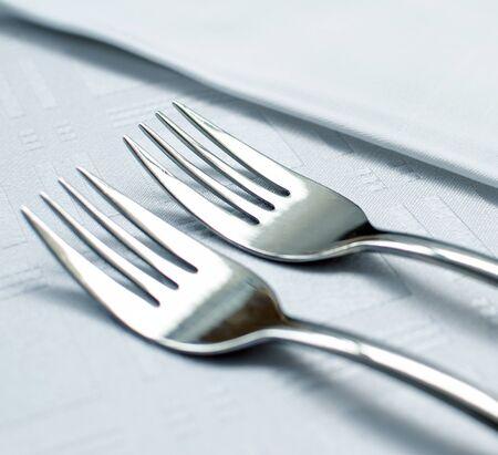 Forks set on restaurant table macro shot Stock Photo - 14256155