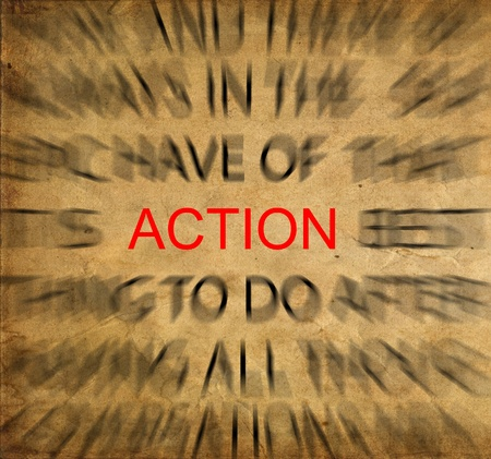 Blured text on vintage paper with focus on ACTION Stock Photo - 14399189