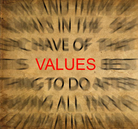 ethics and morals: Blured text on vintage paper with focus on VALUES