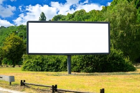 billboard posting: Blank billboard in the beautiful landscape Stock Photo