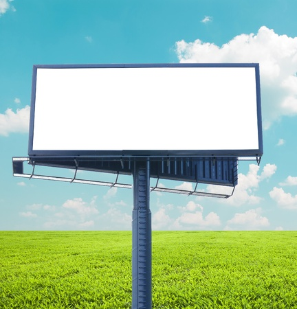 Empty billboard in the beautiful landscape  photo