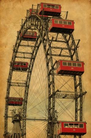 Vintage image of famous ferries wheel in Veinna Austria photo