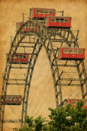 Ferris Wheel in Vienna Austria - Vintage photograph photo