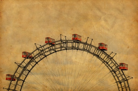 Vintage image of famous Ferris Wheel - Vienna Austria photo
