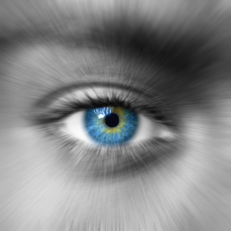 Blue eye with zoom effect photo