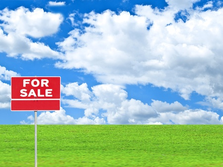 yard sale: LAND FOR SALE SIGN on empty meadow - Real estate conceptual image