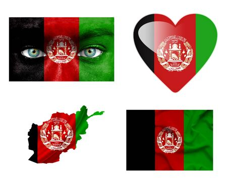 Set of various Afghanistan flags photo