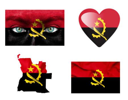 angola: Set of various Angola flags