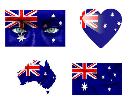 Set of various Australia flags photo