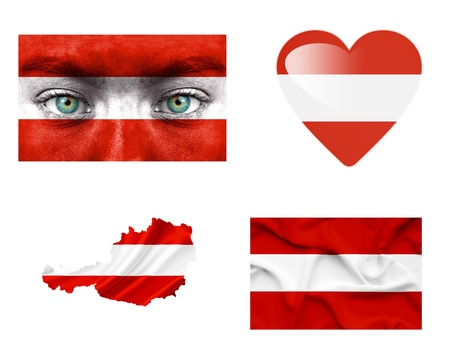 Set of various Austria flags photo