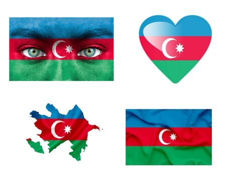 Set of various Azerbaijan flags photo