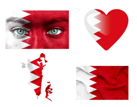 Set of various Bahrain flags photo