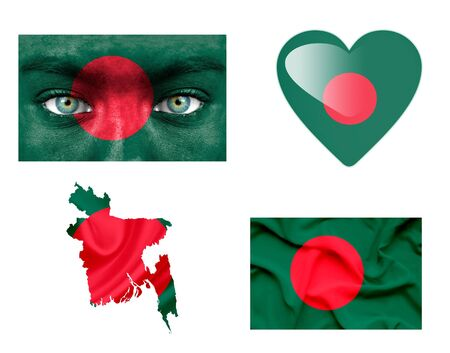 Set of various Bangladesh flags photo