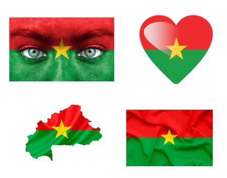 Set of various Burkina Faso flags photo
