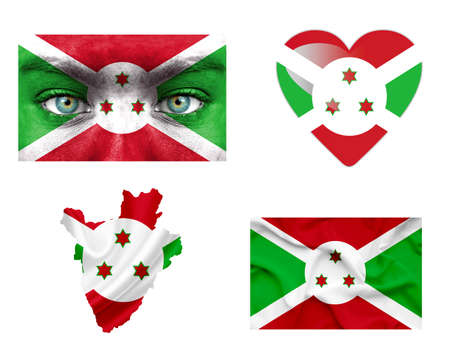 Set of various Burundi flags photo