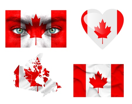 Set of various Canada flags photo