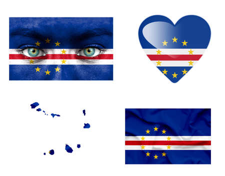 cape verde: Set of various Cape Verde flags