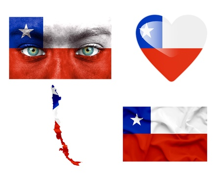 Set of various Chile flags photo