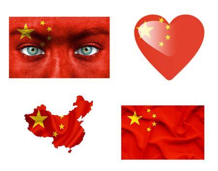 Set of various China flags photo